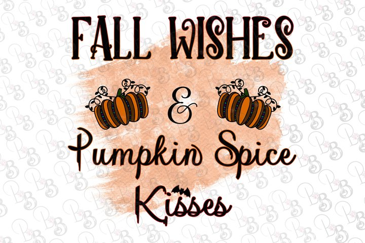 Fall Wishes and Pumpkin Spice Kisses, Halloween, Fall Png