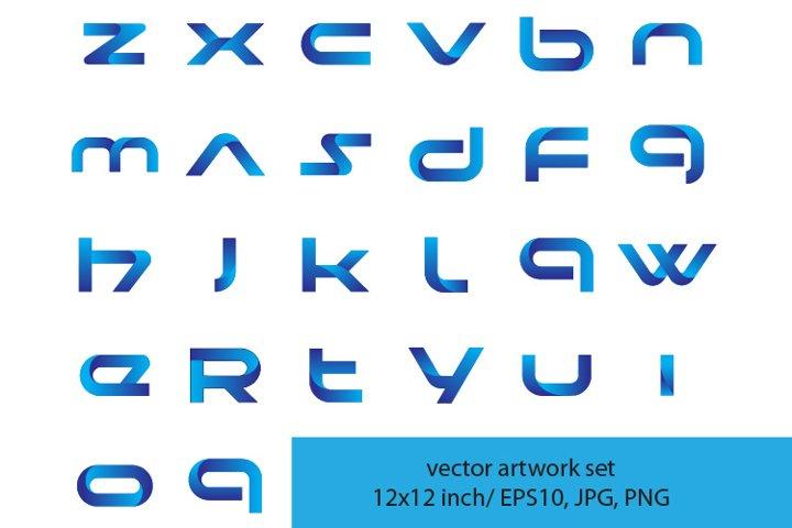 metallic blue letters - VECTOR ARTWORK SET