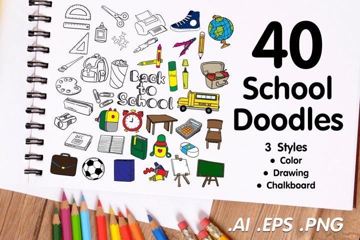 School Doodle Pack - 3 Styles Drawing, Chalkboard, Color