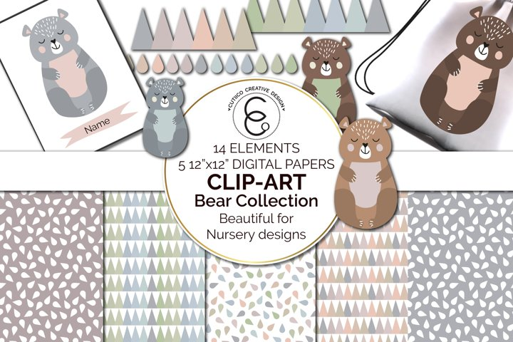 Scandi Nursery Bear Collection Clip Art and Digital Papers