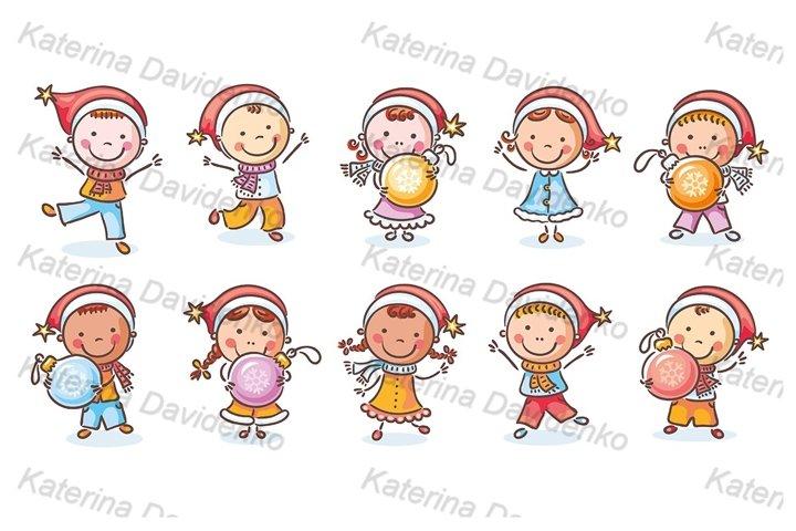 Set of cartoon kids in Santa hats