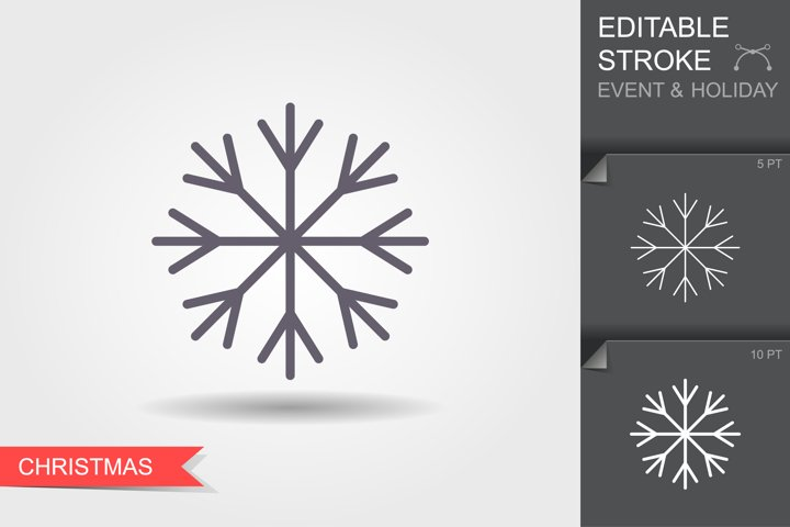 Snowflake. Line icon with editable stroke with shadow