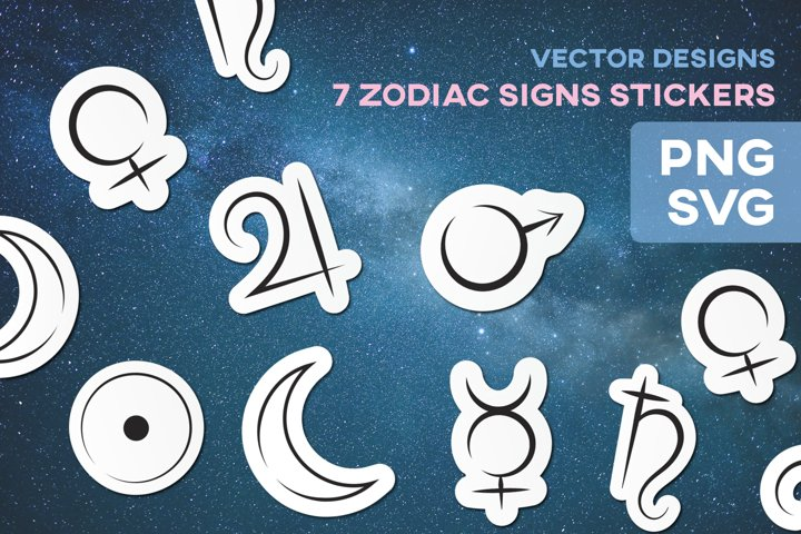 Zodiac Signs Planets Stickers Astrology Vector Horoscope SVG