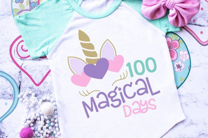 100 Magical Days - Unicorn - School -100th Day SVG