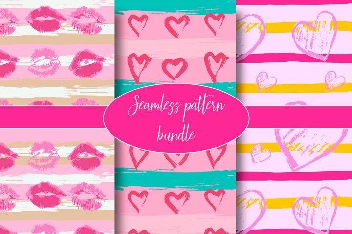 Seamless pattern. Horizontal stripes. Hearts, lips