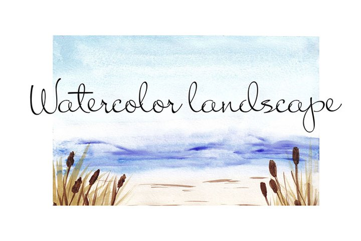 Watercolor landscape blurred backgrounds, Beach and Sea