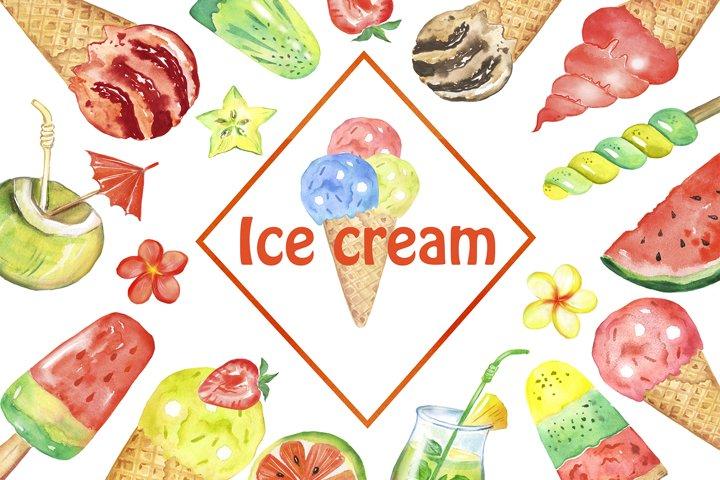 Watercolor ice cream clipart. Multicolored ice cream fruits