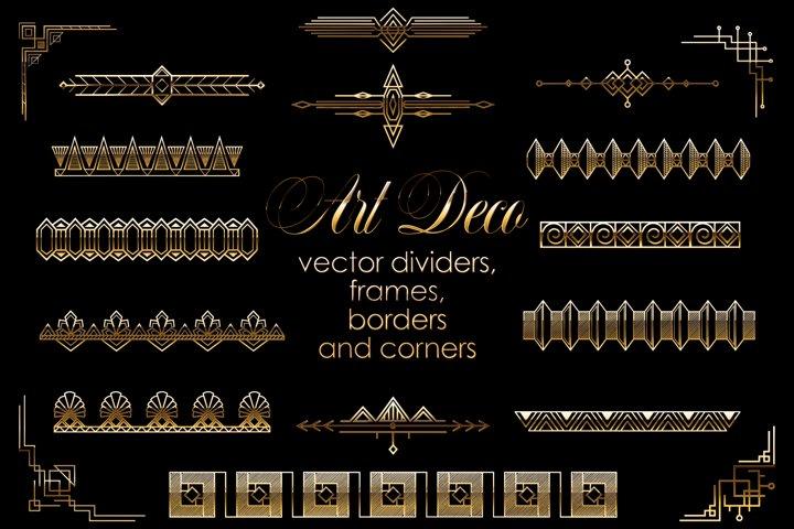 Art Deco Vector Golden Dividers, Frames, Borders Set.