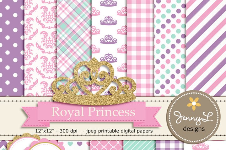 Royal Little Princess Digital papers and Clipart, Gold Crown Baby Shower, Birthday Blue Birth Announcement, Scrapbooking Party Theme