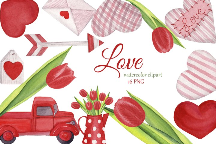 Watercolor Valentine Love clipart, hearts png