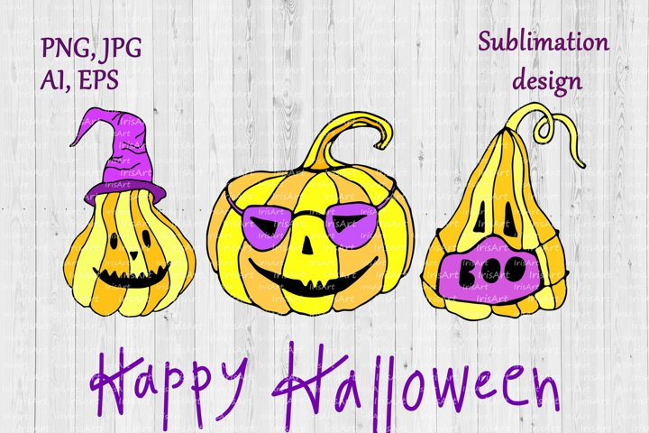 Happy Halloween Pumpkins Sublimation Design - Jack O Lantern