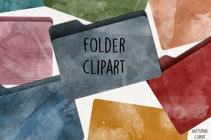 Watercolor Folder Clipart. Set of 15