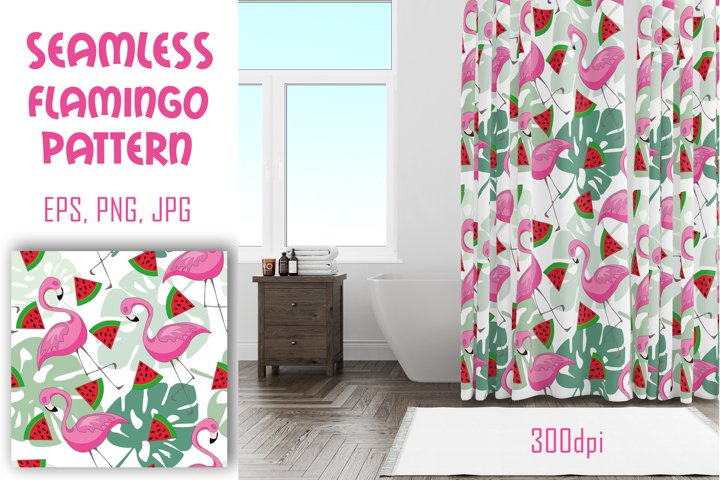 Vector tropical seamless pattern with flamingo