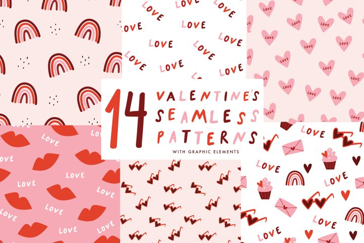 14 Valentines Day seamless patterns with over 20 stickers