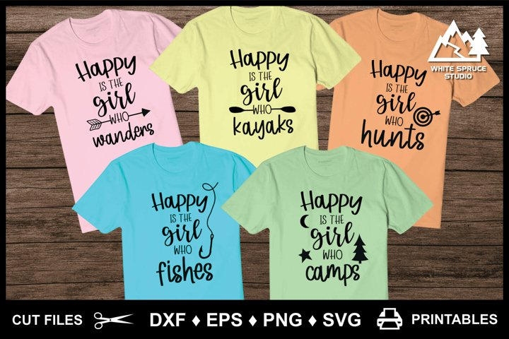 Happy Is The Outdoor Girl Collection - DXF EPS PNG SVG
