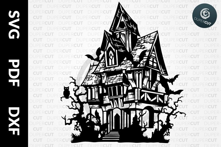 SVG / PDF / DXF Creepy House, Papercutting Template