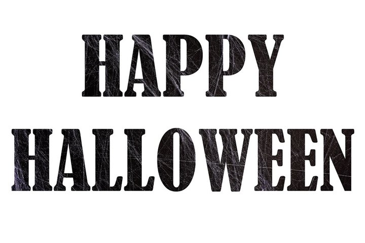 Happy Halloween - isolated black text with spiders web