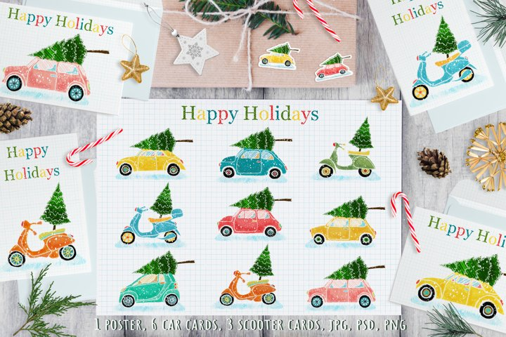 Poster and 9 cards with cars, scooters and Christmas trees