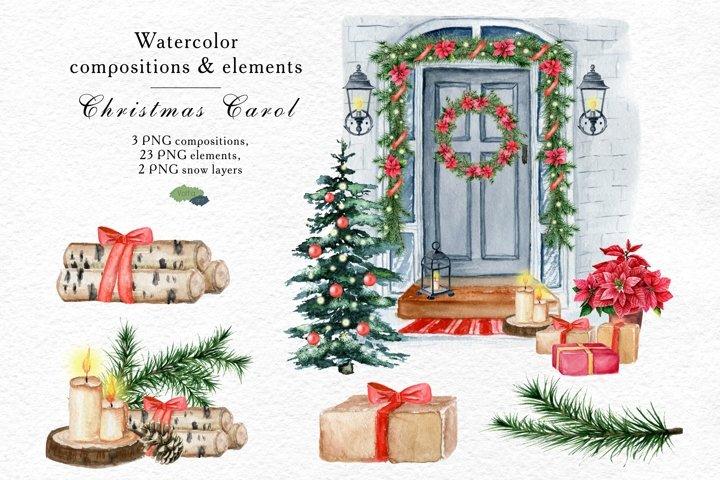 Christmas Door decoration, Watercolor elements, Hand painted