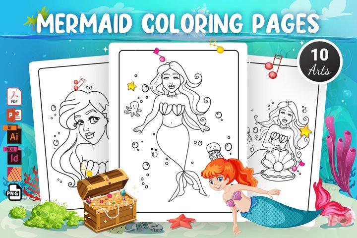 Mermaid Coloring Pages - KDP Interior