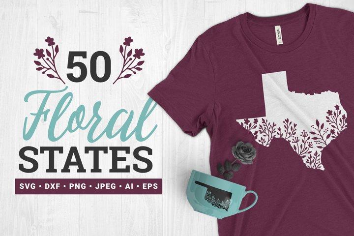 50 Floral States SVG Bundle