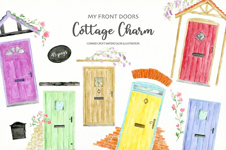 Watercolor Clipart My Front Door Cottage Charm