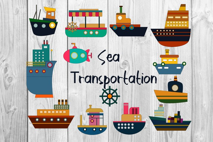 Ship clipart, Water transport illustration, Boat