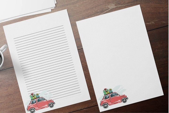 Elegant Christmas Stationery Papers, Christmas Car With Gift