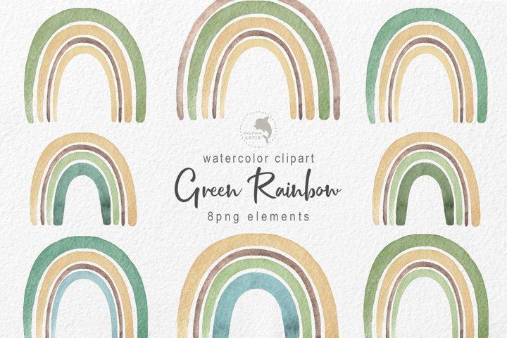Watercolor green rainbow