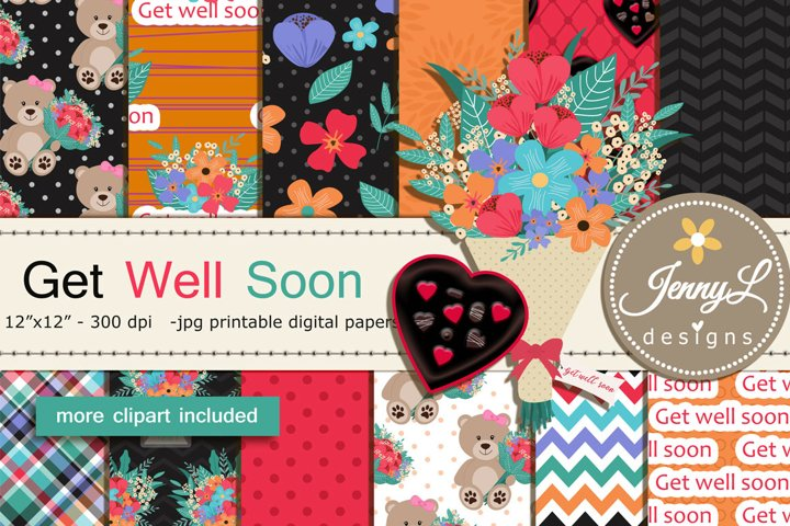 Get Well Soon Digital Papers and Flower Bouquet Clipart