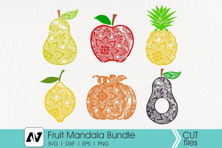 Fruit Mandala Svg Bundle, Pumpkin Mandala Svg, Apple Mandala