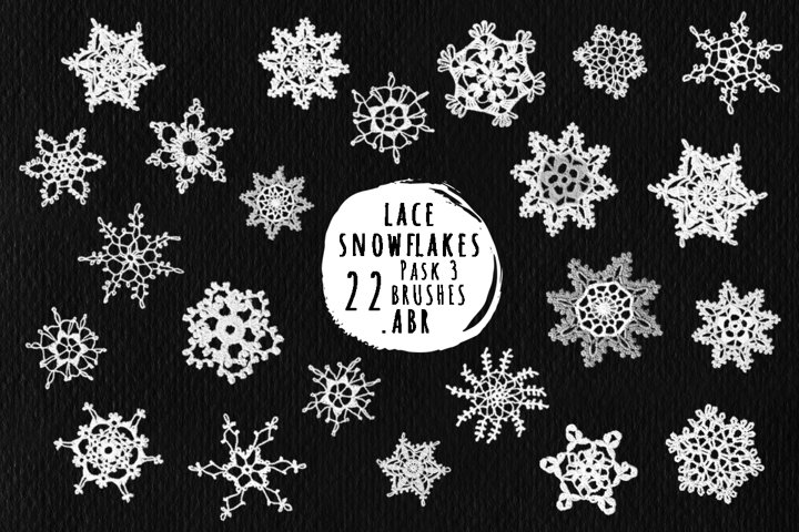 Lace snowflakes brushes for Photoshop, ProCreate .ABR Pack 3