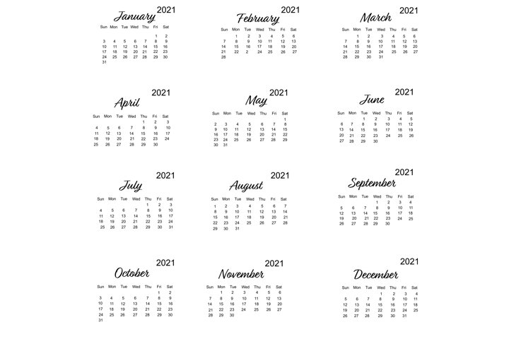 Calendar 2021 vector with minimalistic design