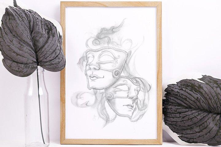 Pencil Theater Masks Printable Wall Art illustration