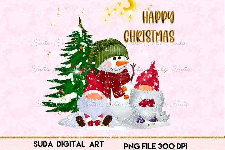 Gnomes Christmas cute snow sublimation