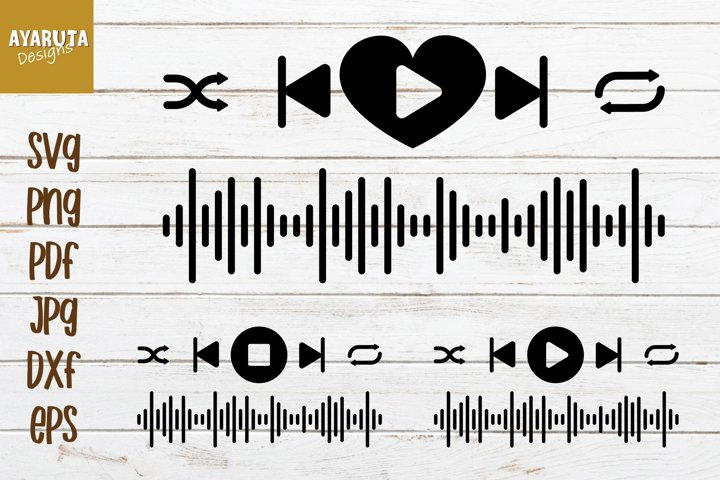 Audio Buttons Stickers, Music Player SVG Cutting template