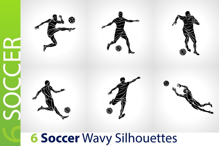 Soccer Players / Football Black Abstract Silhouettes