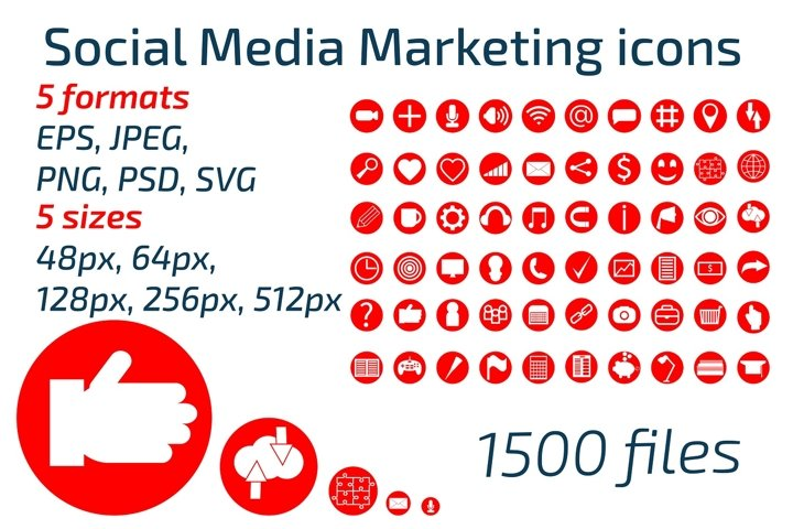 Social media marketing icon set. SMM promotion.
