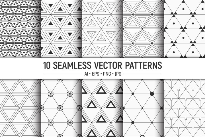 10 seamless geometric vector triangles patterns
