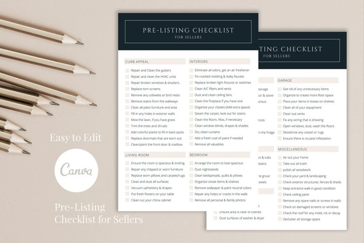 Real Estate Home Selling Checklist, 2 Pages, Canva
