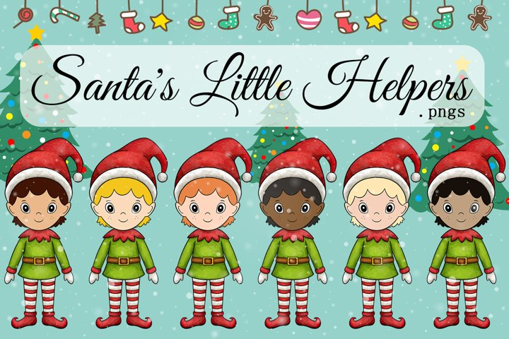 Santas Little Helpers Diversity Boy Elf Christmas Elves Set
