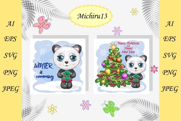 2 Christmas cards with cute panda, Merry Christmas, New Year