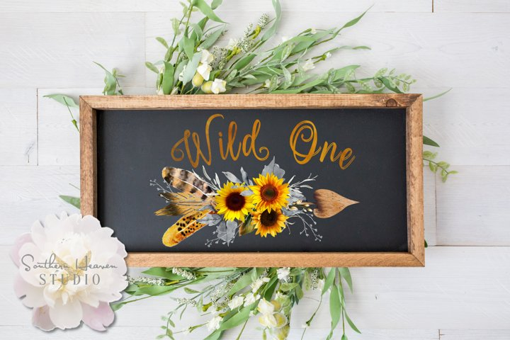 WILD ONE BOHO SUNFLOWER ARROW - PNG