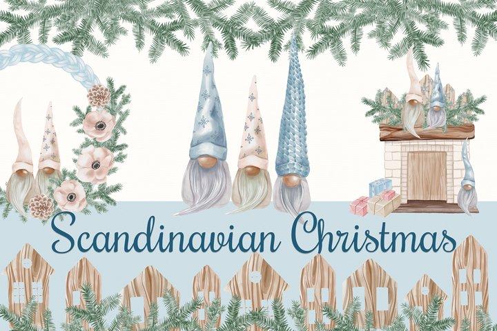 Watercolor Christmas Clipart, Scandinavian Christmas, Gnomes