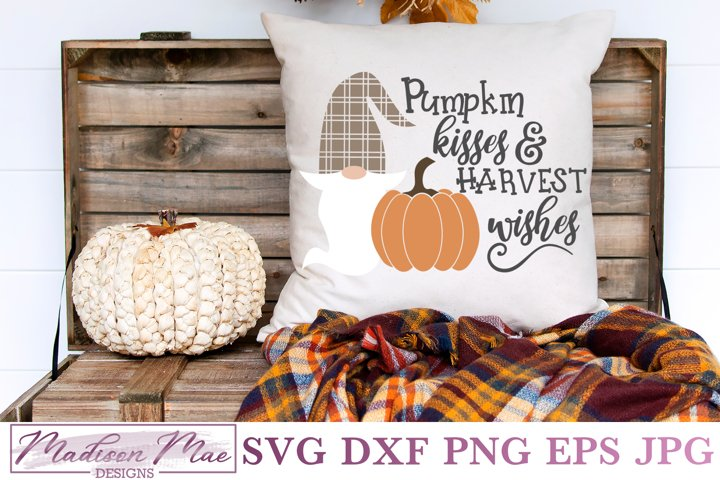 Plaid Fall Gnome SVG, Pumpkin Kisses and Harvest Wishes