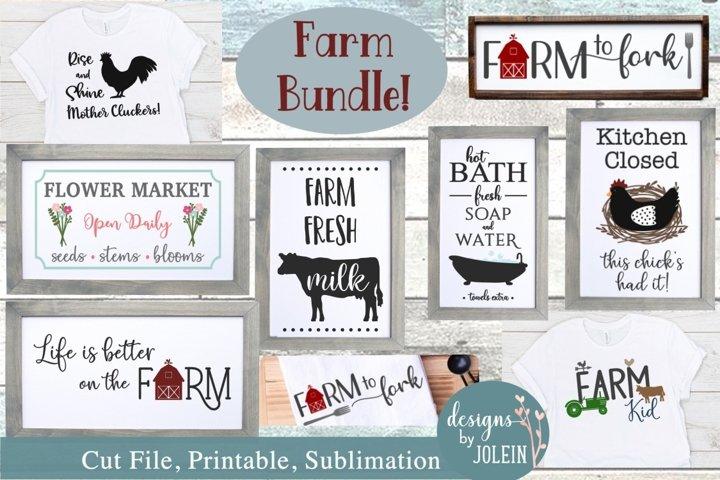 Farmhouse Design Bundle - SVG, Sublimation, Printables, Farm