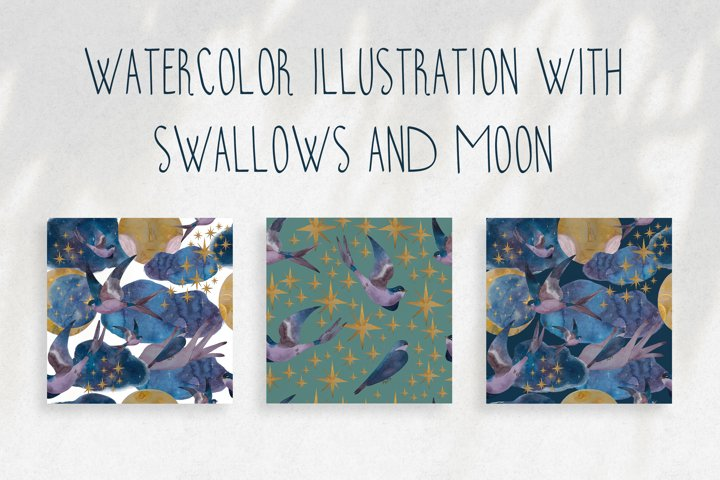 Pattern with swallows, moon and stars