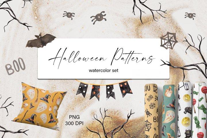 Halloween Cute Watercolor Patterns Set. Digital Papers. PNG