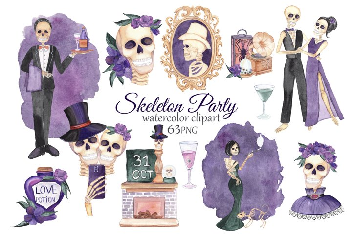 Skeleton Clipart. Halloween Party. Watercolor Skull Clipart