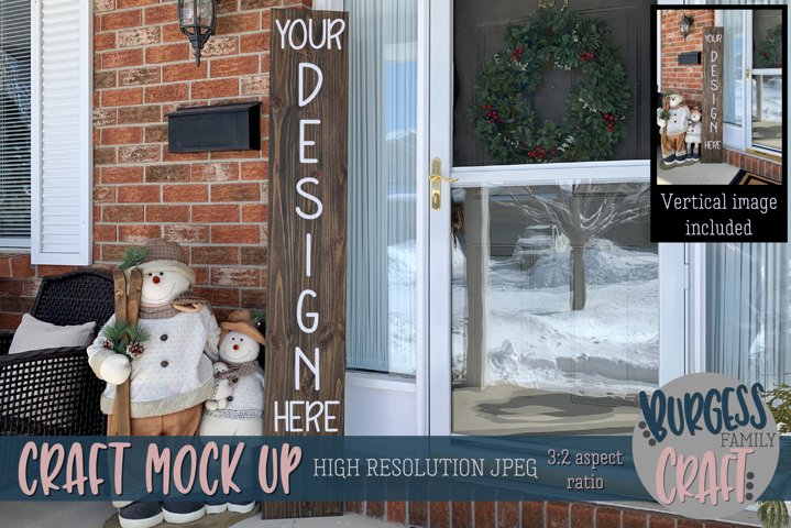 Tall brown porch sign Craft mock up |High Res JPEG